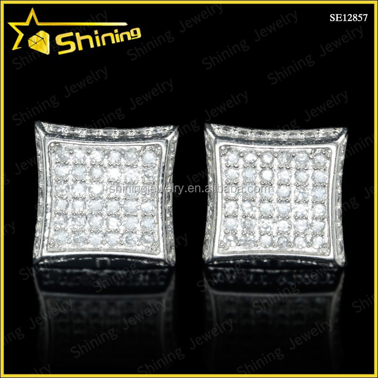 men's rhodium 925 sterling silver lab diamond kite hiphop screw back stud earrings