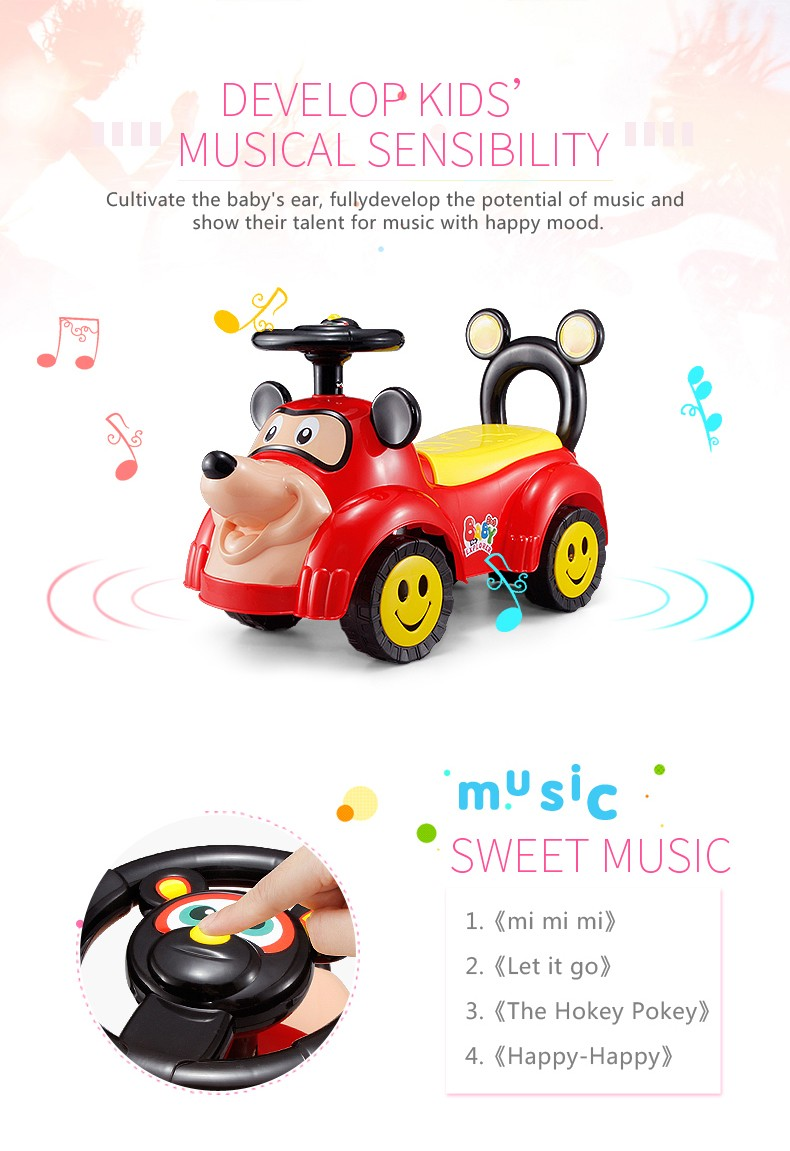 new pattern outdoor use music slide baby ride on toy car with light