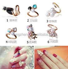 Factory direct hot sale latest gold finger ring designs3D alloy nail art finger nail ring