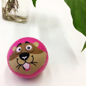 OEM Promotional Colorful Pu Foam Stress Ball Sport Ball Pink Ball With Squirrel Face