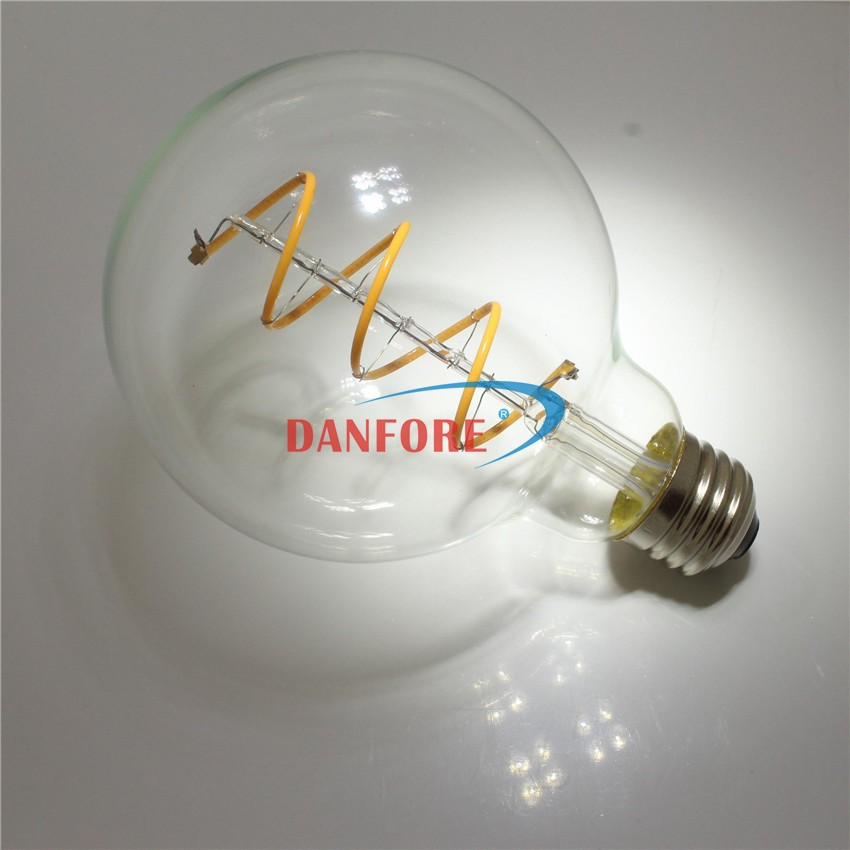 4W Dimmable ra90 G95 Vintage Soft spiral led filament bulb