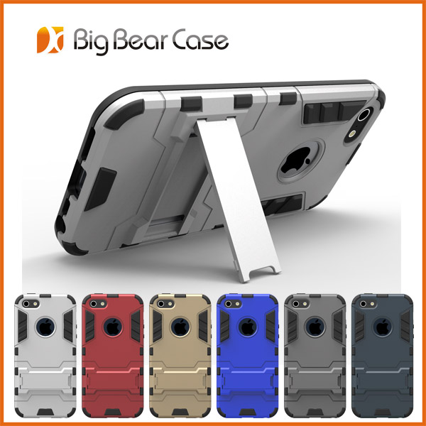 Hybrid tpu pc kickstand back cover case for iphone 5c