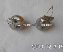 "New Artificial Fruit 3"" Christmas Hanging Decoration With Silver/Gold Rusty Look Apple and Pear"