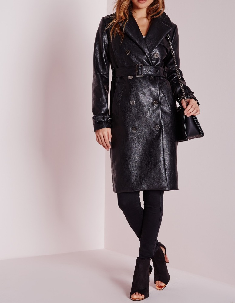 Custom Design Women Faux Leather Trench Coat Shearling Collar Long Leather Coat