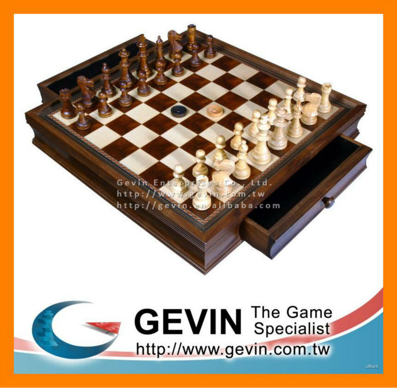 "20"" Wooden Walnut and Camphor Chess Case / Board with Double Drawer - hand carved wooden chess"