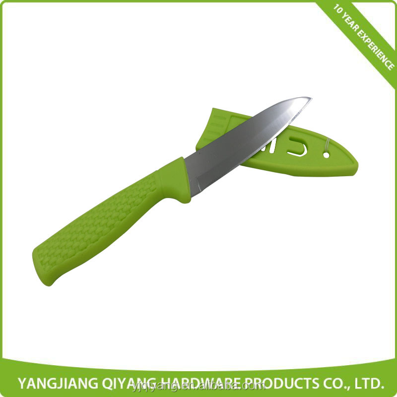 Hot Sale Plastic Green Handle Stainless Steel Kitchen Knife