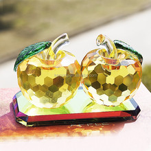 clear couple crystal apple for wedding favor,craft,souvenir,gift