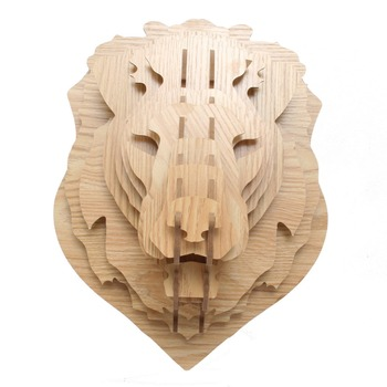 Hanging animal head wall-mounted wood animal head avatar