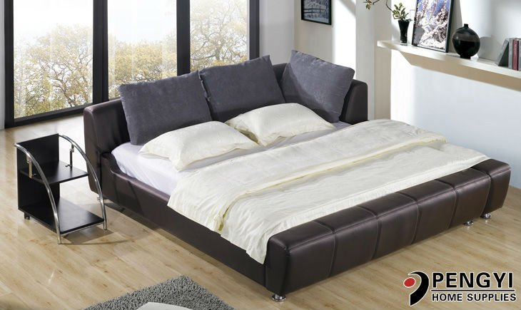 2016 Hot sale popular modern double black faux leather bed on alibaba py-1001A