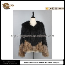 2016 New Contrast Color Knitted Raccoon Fur Coat