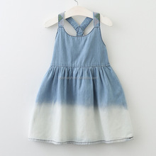 <strong>Girl's</strong> round collar ruffled denim <strong>dress</strong> European style girls <strong>dress</strong>