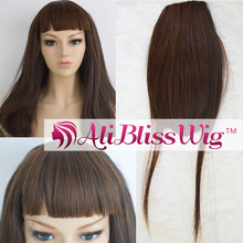 Wholesale Cheap Heat Ok Synthetic Fiber Hair #30 Brown Short Straight Clip On Bangs For Black Women