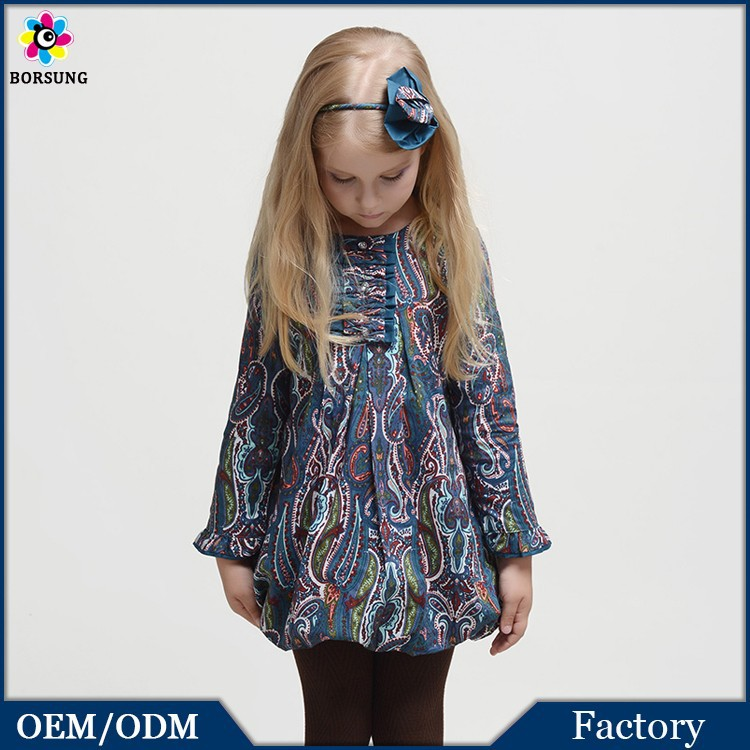 Fall\Winter Long Sleeve Fancy Abstract Print Cotton Frock Designs Fashion Girls Dresses Elegant Kids Clothes