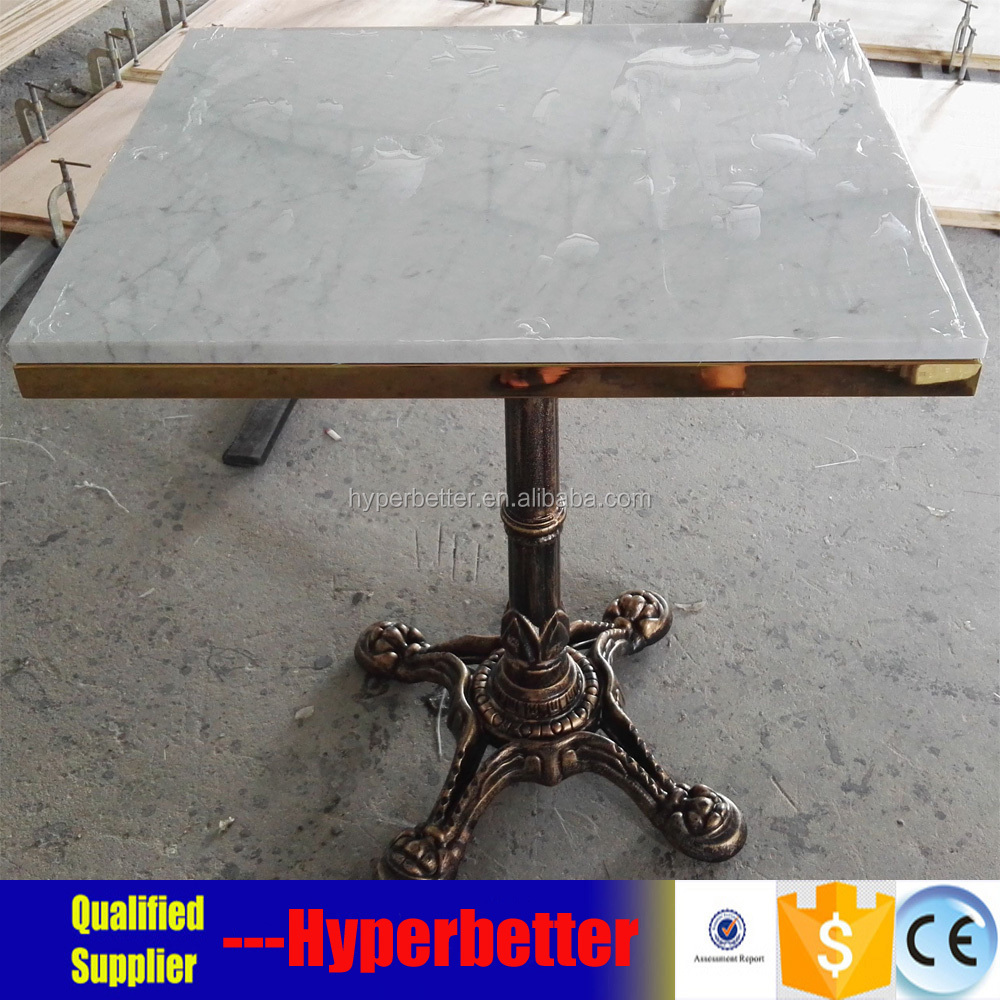 bianco carrara marble table with cast iron stand .jpg