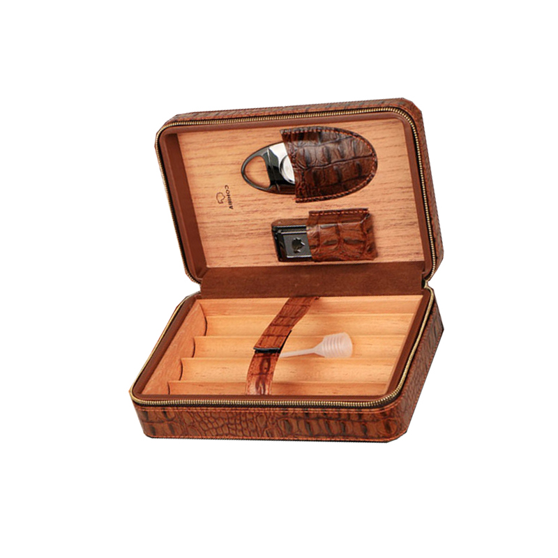 Lebanon Cigar Humidor, Leather Cigar Case Humidor, Leather Cedar Wood Cigar Humidor Portable Cigar