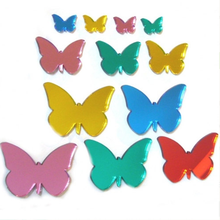 Custom Colored Beautiful Butterfly Shaped Acrylic Wall Mirror Stickers