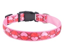 Hot selling polyester nylon webbing dog collars in printed colorful pattern