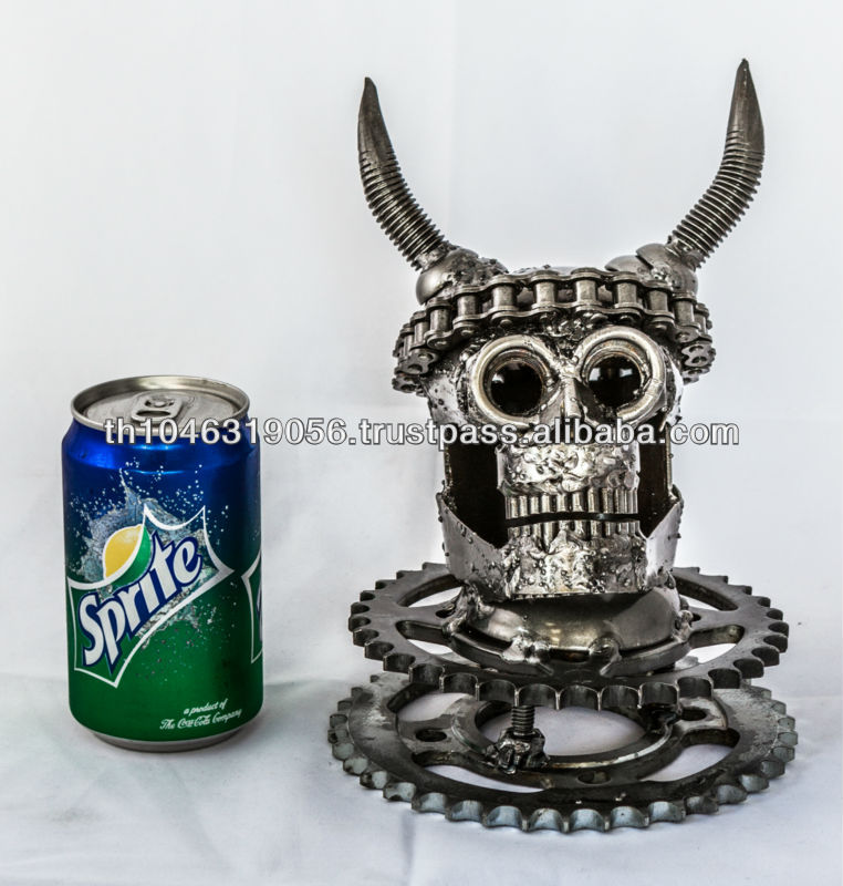 SCRAP METAL Art SKULL ROCK Handmade Masterpiece Statue 1