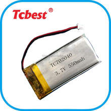 702040 550 mah lithium polymer rechargeable battery