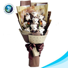 2017 Valentine gift cartoon flower stuffed soft plush toy teddy bear bouquet lovely wedding gift plush bear chocolate bouquet