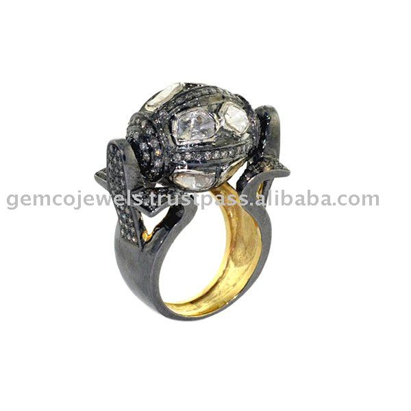 Antique Style Rose Cut Diamond Designer Pave Setting Handmade Wholesale Wedding Rings Jewellery