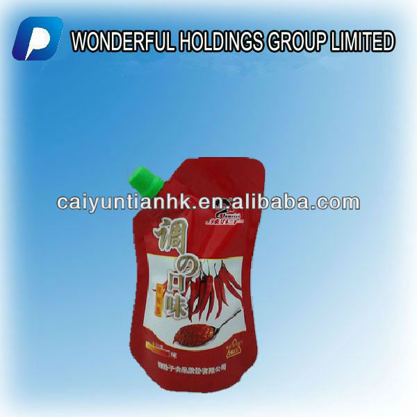 Spout pouch for liquid spice/with corner spout/spout pouch for juice, liquid packaging
