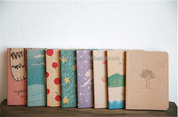 12.5*9cm Old paiting lovely cute notebooks for writting 8 types daily book