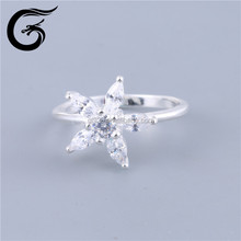 GuoLong 2015 European popular silver star ring jewelry Indian ladies gold finger ring