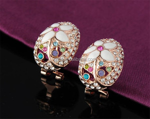 MJ Brand Romantic Jewelry Sets Rose Gold Color Necklace Pendant/Earring/Ring Enamel Flower Jewelry Set