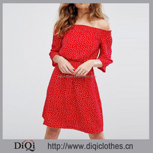 Wholesale Beautiful Lady Fashion Dress Abby Dot Printed Shirred Stretch Waist Off Shoulder 3/4 Sleeves Red Chiffon Dress