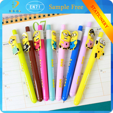 Novelty design multicolors Cute yellow doll 0.5mm black Gel Ink writing ball Pen for Promotional Gift