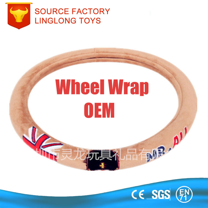 Manufacture Customize Cartoon Plush Steering wheel Sets Winter Antislip Steering Wheel Wrap Fabric Animal Car Wheel Cover
