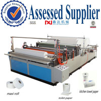 Full automatic high speed maxi roll rewinding slitting paper machine equipment