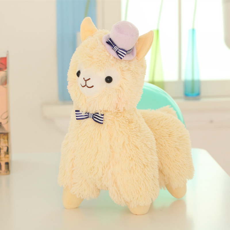 velvet animal supplier plush alpaca with hat decoration craft company