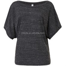 The Sports Apparel, Scoop Neckline Relaxed FLOWY DRAPED SLEEVE DOLMAN T-SHIRT