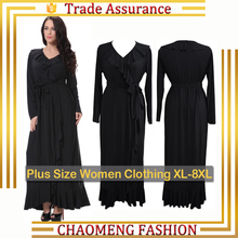 7032# Fall Women Clothing Black Ladies Party Dresses Ruffle Long Sleeve Maxi Muslim Dress Plus Size