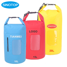 High quality 20L yellow dry bag waterproof beach bag with zipper pocket in stock for travel canoe drifting
