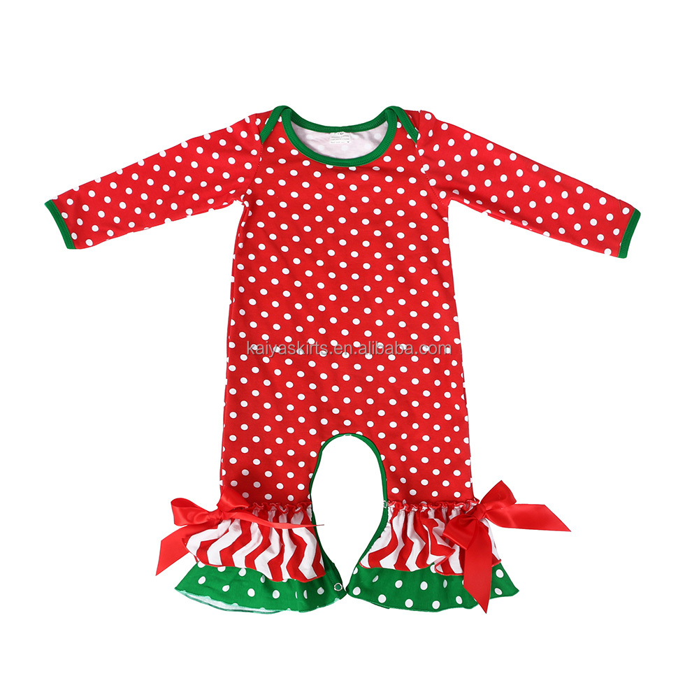 Kids clothes boutique wholesale Christmas baby romper ruffle laceflower baby one-piece suit