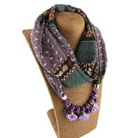 Wholesale 2019 newest necklace beaded scarf fashion ethnic style bohemia chiffon print women pendant jewelry scarf