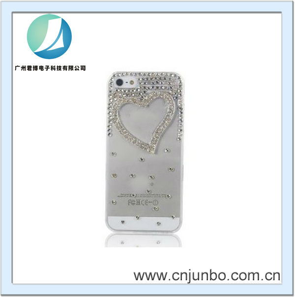 3D Handmade Clear Bling Love Heart Crystal Rhinestone Diamond Skin Case Cover For iPhone 5 5g