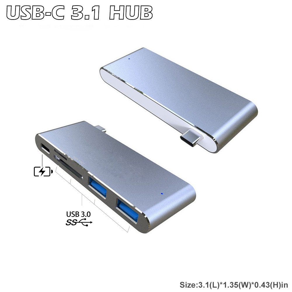 Unibody Type-C Hub Multiple USB 3.0 Hub Combo Card Reader with Type - C Charging Port