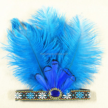 Fashionable Emboridery <strong>Headband</strong> with peacock Feather Plume for Showgirl Flapper