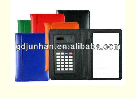 PVC embossed leather notebook calculator with ball pen