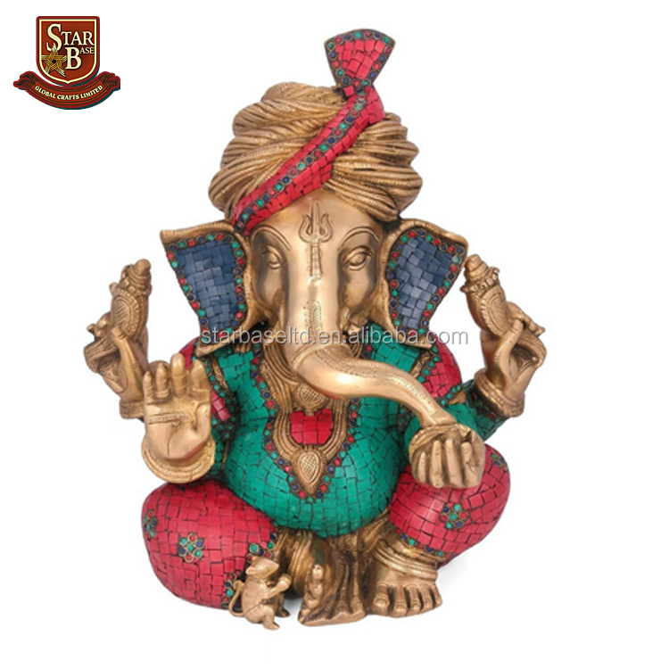 Resin handmade turbaned ganesh idols blessing turquoise figurine