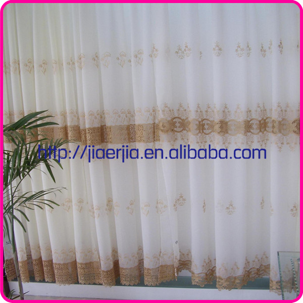 Top fashionable embroidery lace sheer curtains with woven linen curtain fabric for home textile