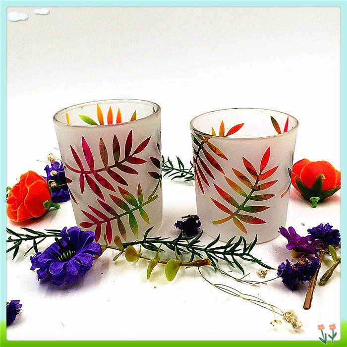 Hot sale white frosted glass tube candle holder for promotion lasing candle holder