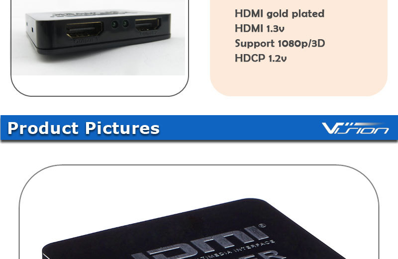 HDMI 1IN 2 OUT 1080P 4K HDCP STRIPPER 3D SPLITTER POWER SIGNAL AMPLIFIER