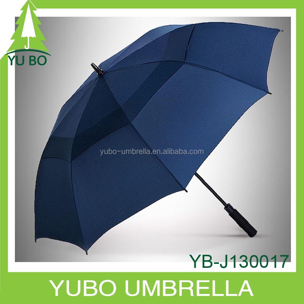 strong fiberglass dark blue golf umbrella, wind resistance umbrella with air vent