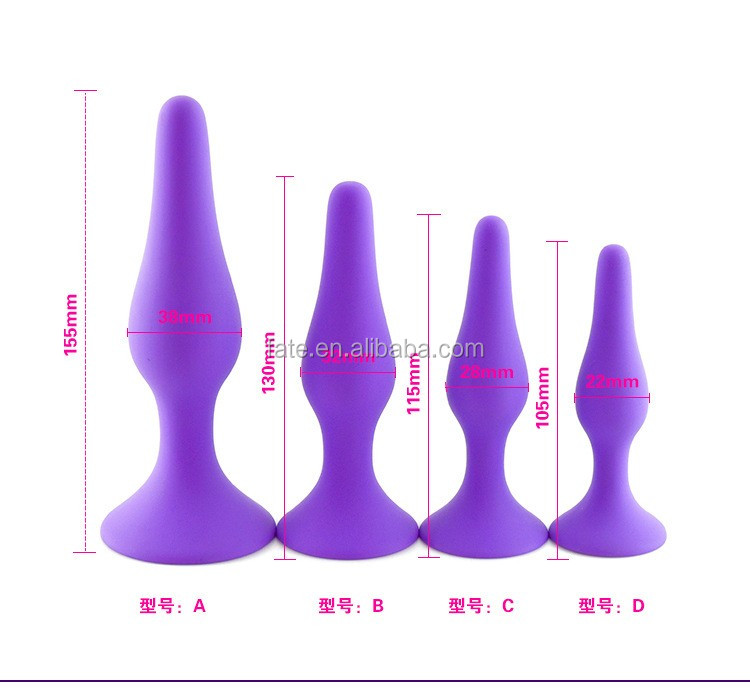 new arrival 4 different sizes silicone anal plug with sucker anal sex toys