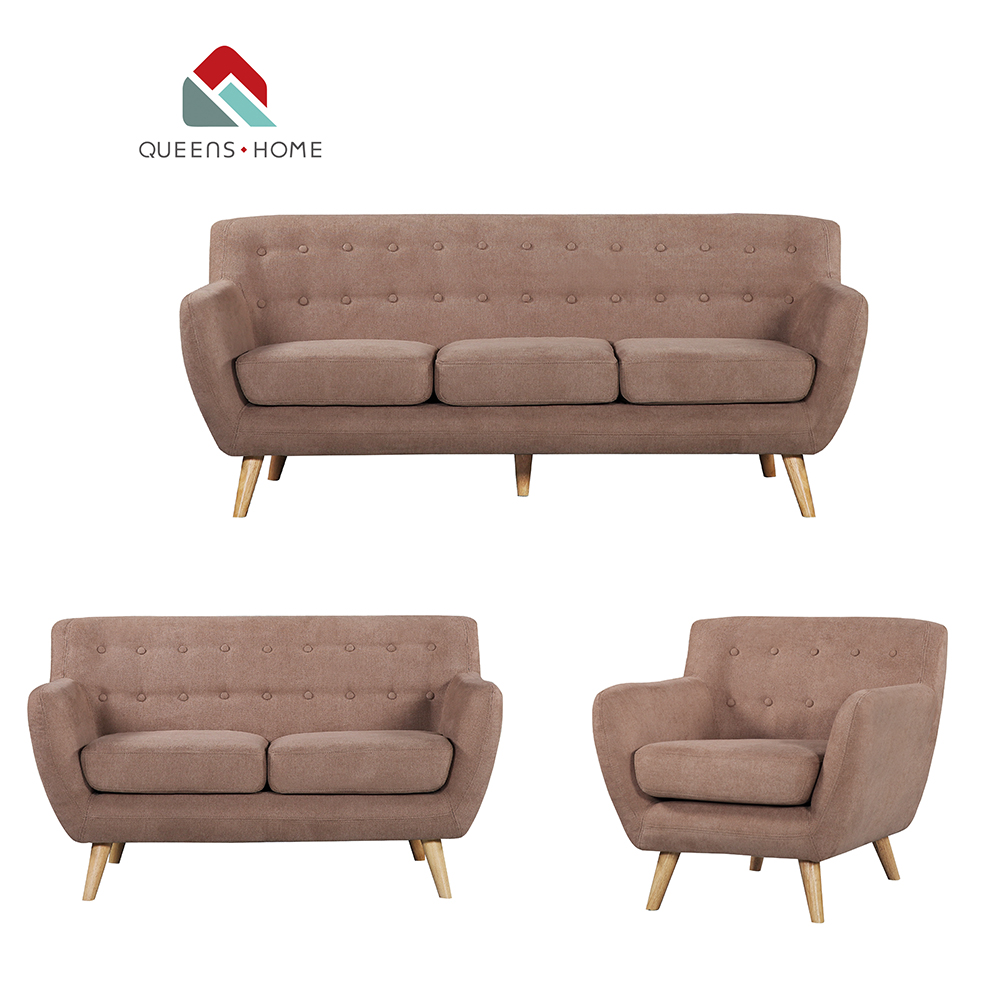 Queenshome Brown Fabric Cheap Price Continental Furniture 1 2 3 5 3-seater  Chair Foot Couch Wood Wool Seater Silver Sofa Set - Buy 3 Seater Couch ...